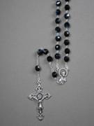 Glass Rosary: 8mm Bead Black(AB) (RX908K)