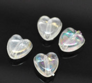 Acrylic Beads- 8mm Heart Shaped Clear Crystal x 300