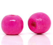 Wood Beads: 10mm Round Fuchsia Pink (200)