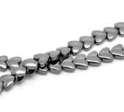 Gemstone Beads- Hematite- 8mm Heart Shaped x55