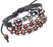 Wristband: Three layered Beads and Cross