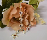 Bracelet: 925 Sterling Silver Plated Heart Austrian Crystals (BR1938)