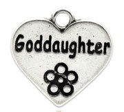 "Pendant: Antique Silver ""Goddaughter"" Heart 18mm (P015)"