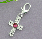 Pendant Charm: Silver Plated Cross & Pink Zircon (P023)
