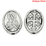 Antique Silver Oval Spacer Bead:  Cross/SHM (B003)
