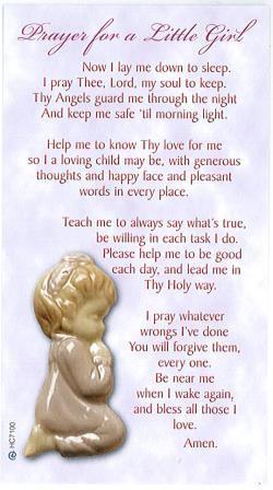 Holy Cards Each Prayer Baby Girl Ark Religious Supplies