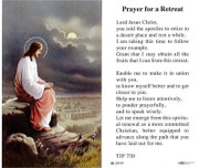 TJP Holy Card: Prayer for a Retreat (TJP730)
