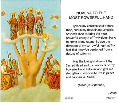 TJP Holy Card: Novena to the Most Powerful Hand (TJP802)