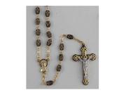 Rosary: Ceramic 6mm Black/Gold Cross Bead (RX111K)