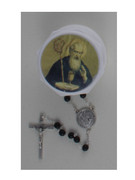 Glass Rosary & Box: St Benedict (RX36970)