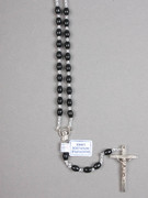 Rosary: Plastic Silver Links Black (RO516K)