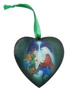 Christmas Ornament Heart: Nativity 7.5cm (NST1953)
