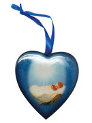 Christmas Ornament Heart: Baby Jesus 7.5cm (NST1955)