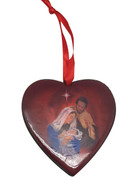 Christmas Ornament Heart: Holy Family 7.5cm (NST1954)