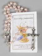 Communion Rosary: Pink 5mm bead (RX729P)