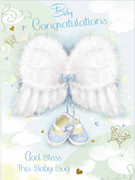 Cards (Pack 6): Baby Boy Congratulations Glitter Wings (CDB4513)