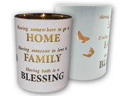 Glass Votive Candle: Home/Family(CH4319BH)