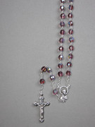 Glass Rosary: 7mm Bead Amethyst(AB) (RX907A)