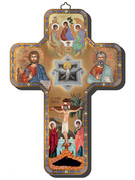 Wooden Cross with Foil Highlights: Icon Trinity (CRICW04)