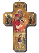 Wooden Cross with Foil Highlights: Icon Holy Family (CRICW03)