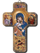 Wooden Cross with Foil Highlights: Icon Mother & Child (CRICW02)