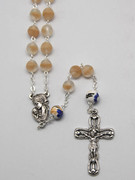 Rosary: Frosted Glass 9mm bead Cream (RX918BE)