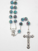 Rosary: Glass Rose 9mm bead in Blue (RX1153B)