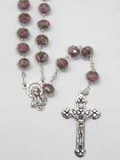 Rosary: Glass Rose 9mm bead in Lilac (RX1153A)