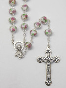 Rosary: Glass Rose 9mm bead in White (RX1153W)