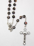 Rosary: Murano Style Glass 7mm Black (RX5592K)