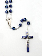 "Rosary: Glass 7mm ""Cats Eye"" Rosary Blue (RX366B)"