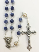 Rosary: Glass 6mm Blue Swirl (RX6120BL)