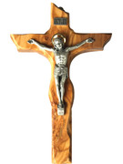 Wall Crucifix: Olive Wood Scalloped Edge 23cm (CR850)