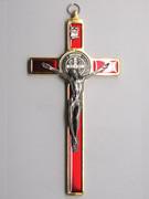 St Benedict Crucifix: 20cm Gold/Red (CR20SBGR)