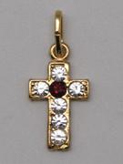 Cross Pendant: Gold with Zirconia 17mm (CR299)