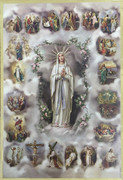 Gold Foil Wood Plaque: Mysteries of Rosary (PL1708M)
