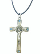 Silver Crucifix with Blue Crystals on Cord (CR3672B)