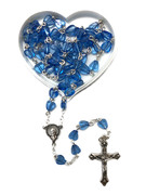 Rosary: Heartshaped Beads 6mm Blue (RX37156B)