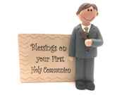 Communion Boy Statue & Plaque 12cm (PL5075)