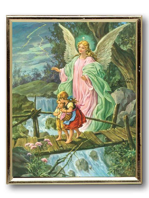 Gold Frame Guardian Angel On Bridge 2 Ark Religious Supplies