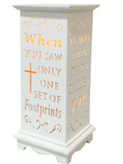 Wood Lanterns with LED Light: Footprints(LT84688)