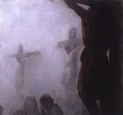 Unframed Canvas Print: Three Crosses in Mist 50x50cm (PI20X203CR)
