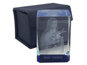Laser Engraved Glass Blocks: St Theresa (LE43218)