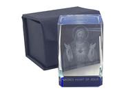 Laser Engraved Glass Blocks: Sacred Heart Jesus (LE43201)