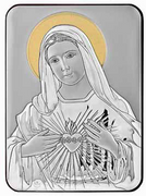 Greek Silver Icon Plaque: Immaculate Heart Mary 10x14cm (PL98102)