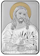 Greek Silver Icon Plaque: Sacred Heart Jesus 10x14cm (PL98201)