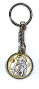 Keyring: Greek Silver Icon St Christopher/Cross on reverse(KR132155)