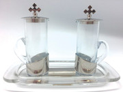 Cruet Set, Silver glass tray 100ml (CW1507S)