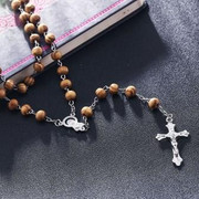 Wood Rosary silver links (RX20023)