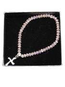 Child Bracelet: Pink Crystal 3mm Beads & Cross(JE2975P)